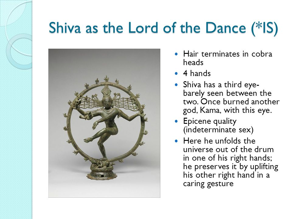 Shiva as the Lord of the Dance (*IS) Hair terminates in cobra heads 4 hands Shiva has a third eye- barely seen between the two.