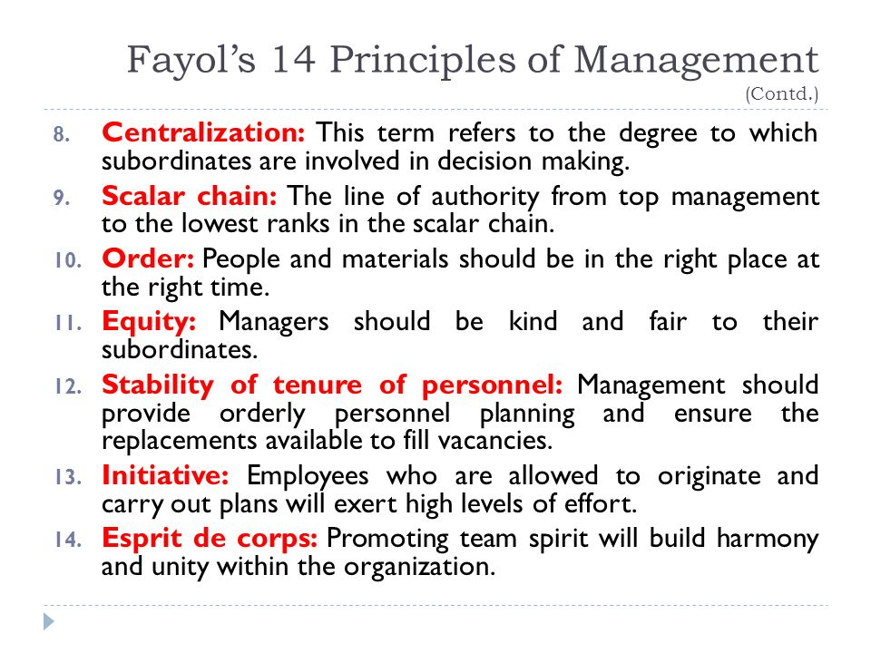 Fayol's 14 Principles of Management (Contd.) 8.