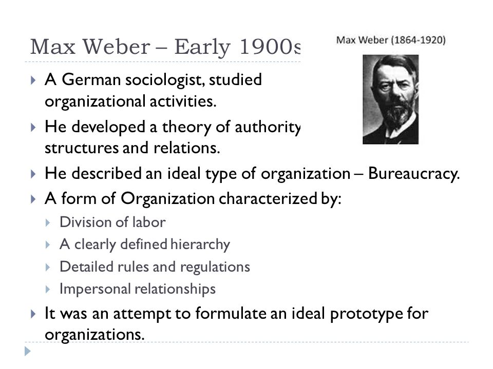 Max Weber – Early 1900s  A German sociologist, studied organizational activities.