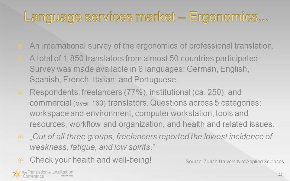 40  An international survey of the ergonomics of professional translation.