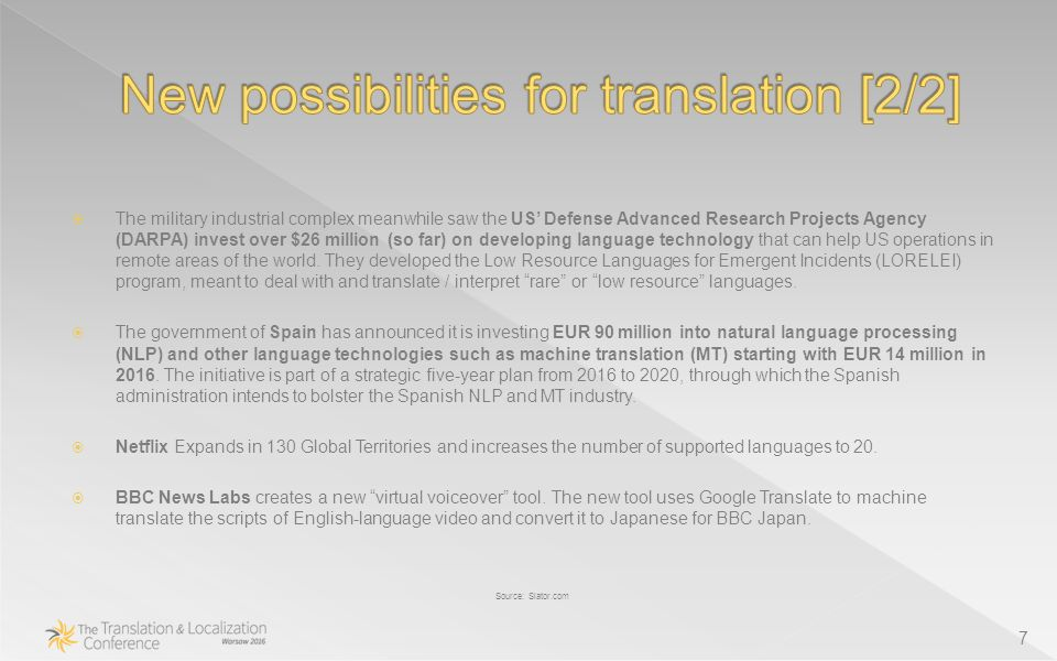  The military industrial complex meanwhile saw the US' Defense Advanced Research Projects Agency (DARPA) invest over $26 million (so far) on developing language technology that can help US operations in remote areas of the world.