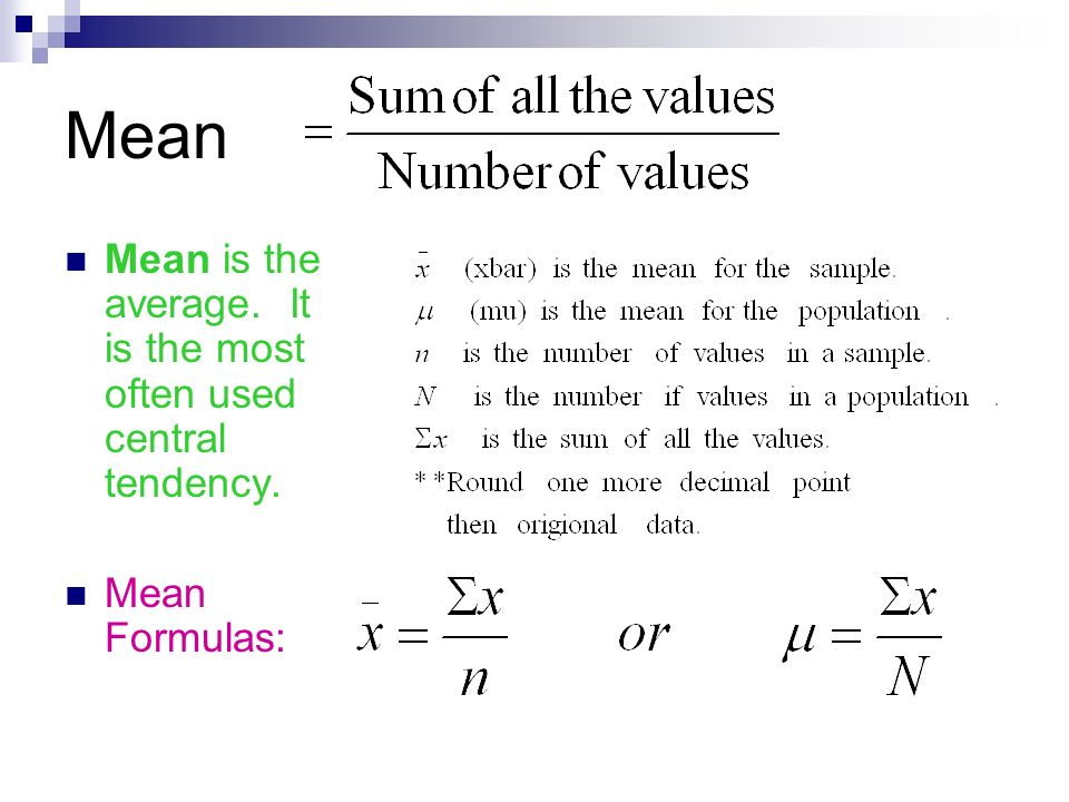 Worksheet Central Tendency Formula chapter 3 numerical descriptive measures 1 of central it is the most often used tendency mean formulas
