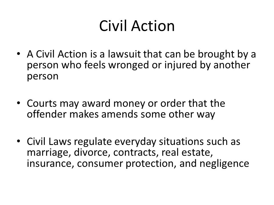 civil action law assignment Unit 3 assignment: scenario: criminal law in the scenario listed below there are at least four alleged crimes and at least one possible civil action review the scenario and identify these crimes and civil action in a 3 – 4 page paper (excluding title and reference pages), apply principles of criminal law to criminal justice practice.