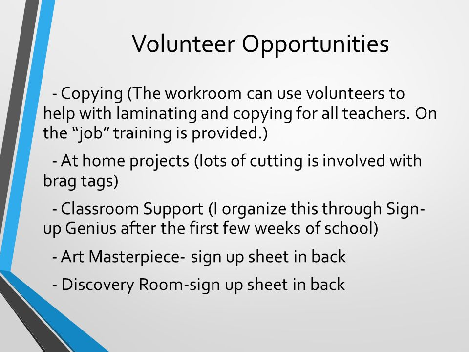 Volunteer Opportunities - Copying (The workroom can use volunteers to help with laminating and copying for all teachers.