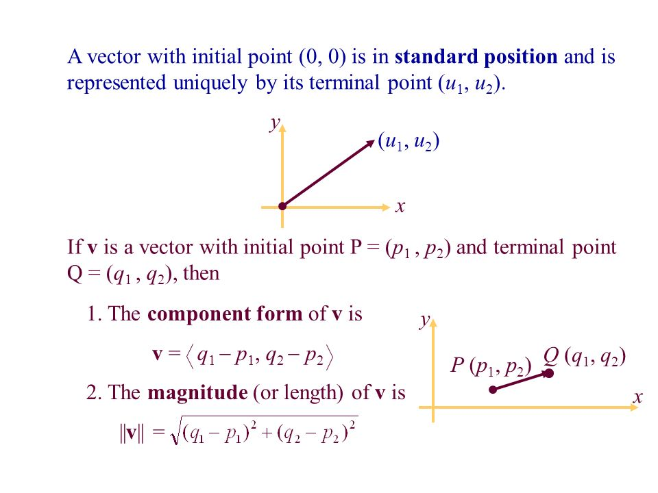 Vectors Components and Magnitude. Objectives Write vectors in ...