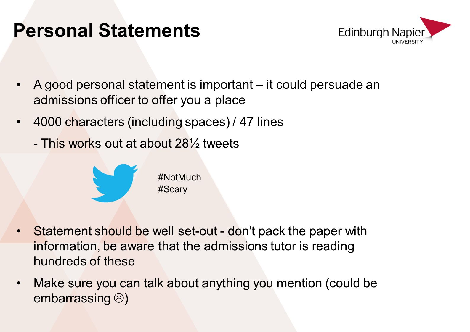 personal statement word limit uk The personal statement is occasionally a chance to make your application, but it's always a risk to break it keep in mind: it's only 1 page (literally—it should fit on no more than one page when printed from the eras application, which is somewhere around 750-800 words on the longer end 600-650 is a better goal.