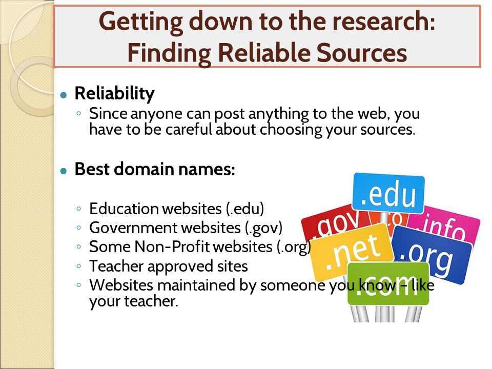 list of reliable sources for research papers