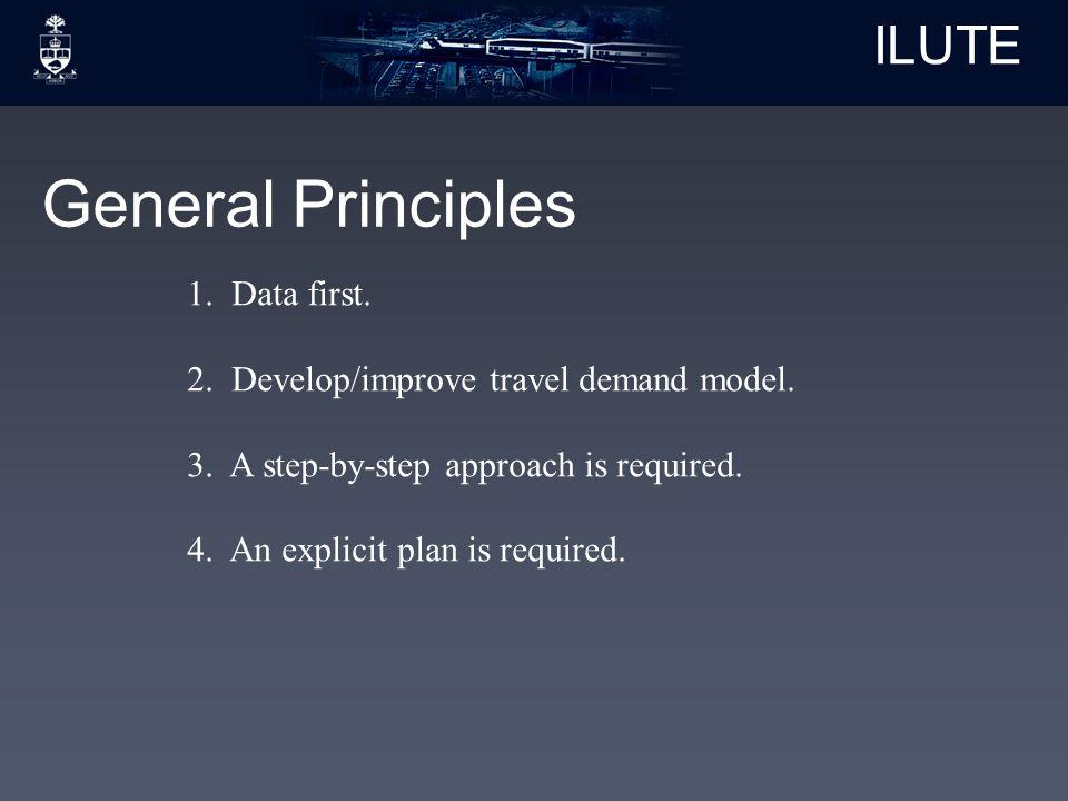 ILUTE General Principles 1. Data first. 2. Develop/improve travel demand model.
