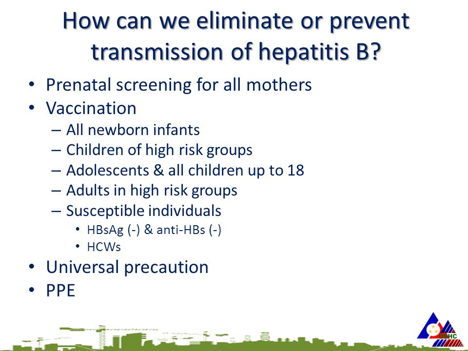 How can we eliminate or prevent transmission of hepatitis B.