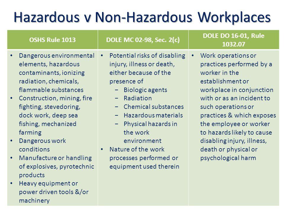 Hazardous v Non-Hazardous Workplaces OSHS Rule 1013DOLE MC 02-98, Sec.