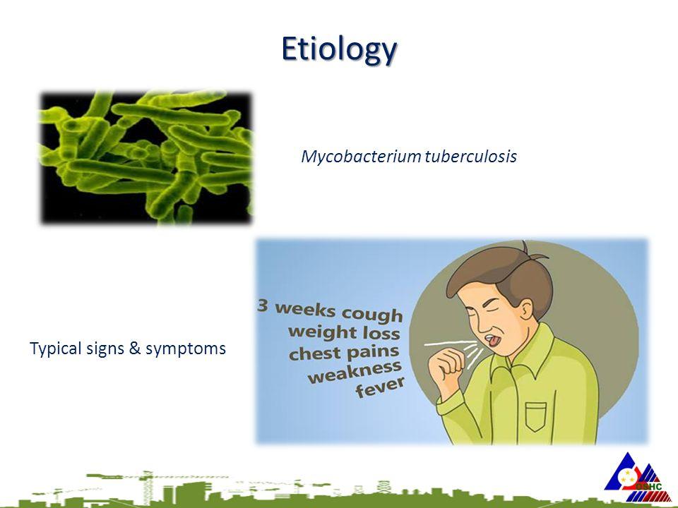 Etiology Mycobacterium tuberculosis Typical signs & symptoms