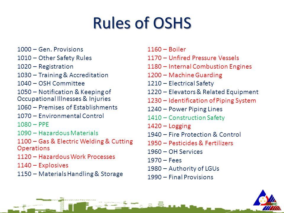 Rules of OSHS 1000 – Gen.