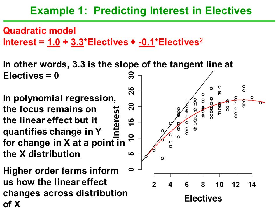 30 Example 1: Predicting Interest in Electives Quadratic model Interest = 1.0 + 3.3*Electives + -0.1*Electives 2 In other words, 3.3 is the slope of the tangent line at Electives = 0 In polynomial regression, the focus remains on the linear effect but it quantifies change in Y for change in X at a point in the X distribution Higher order terms inform us how the linear effect changes across distribution of X