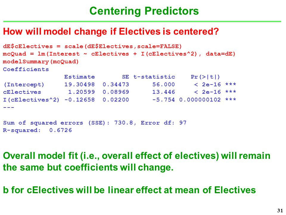 31 How will model change if Electives is centered.