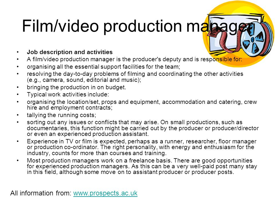Jobs within the Media Industry Film director Job description and – Production Director Job Description