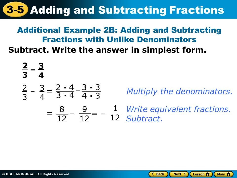 3-5 Adding and Subtracting Fractions Warm Up Find the LCM for each ...