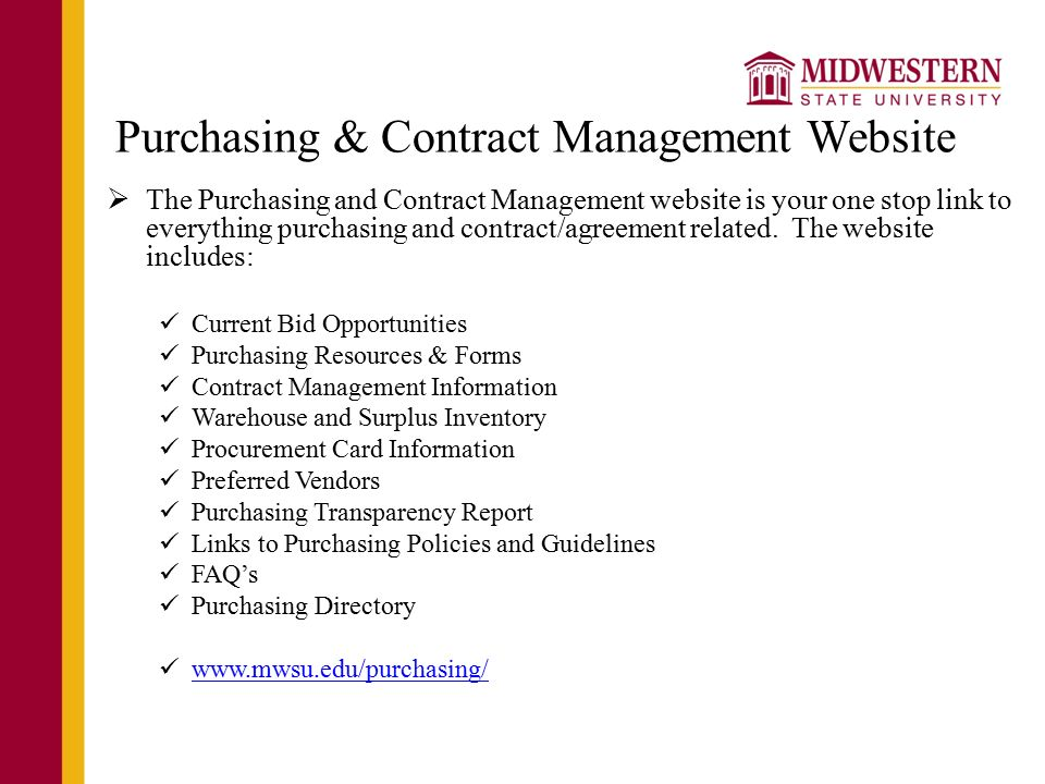 Contract Management SB 20 Objective Provide basic overview of – Vendors Contract Agreements