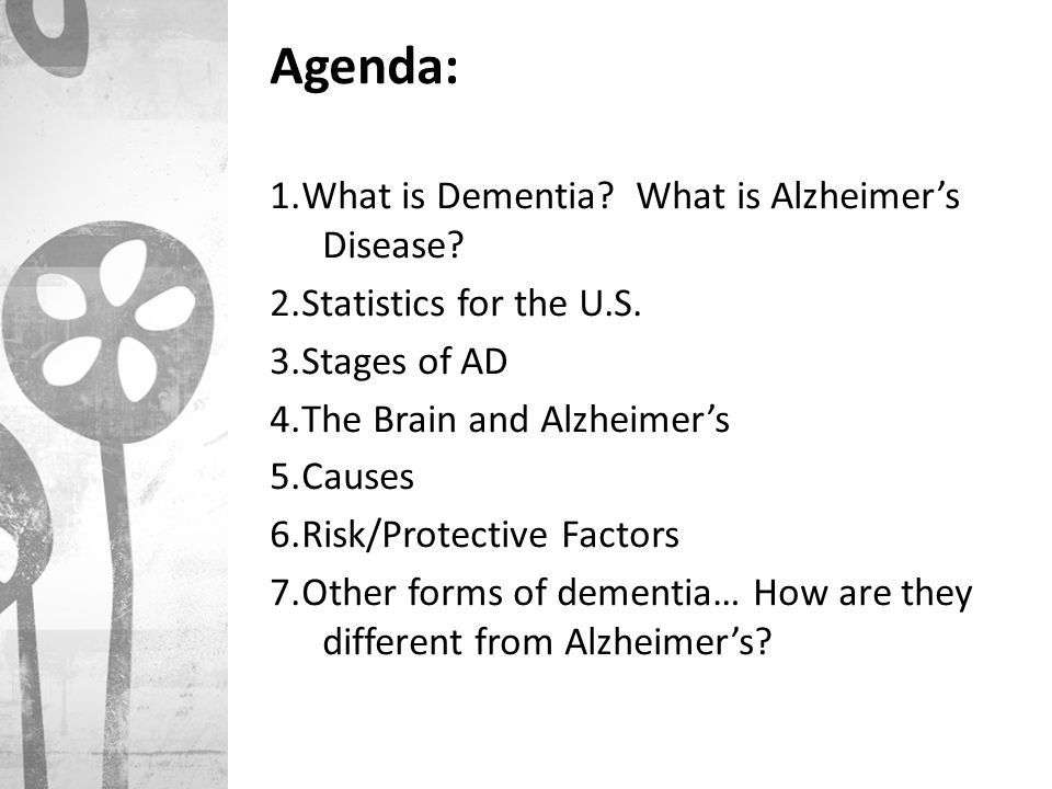 what is alzheimers disease Find out exactly what alzheimers is what are the symptoms and stages to alzheimers information at patientinfo, a uk medical website.