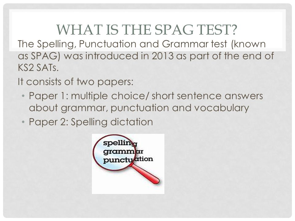 WHAT IS THE SPAG TEST.