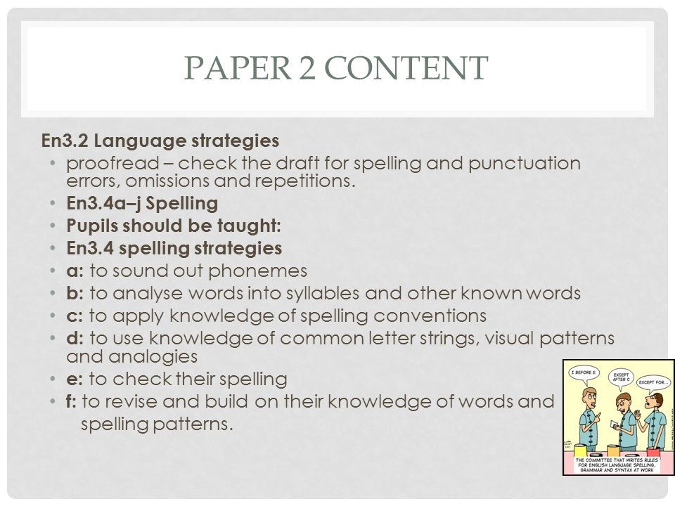 PAPER 2 CONTENT En3.2 Language strategies proofread – check the draft for spelling and punctuation errors, omissions and repetitions.