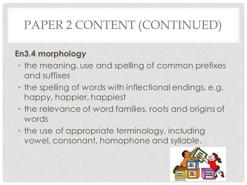 PAPER 2 CONTENT (CONTINUED) En3.4 morphology the meaning, use and spelling of common prefixes and suffixes the spelling of words with inflectional endings, e.g.