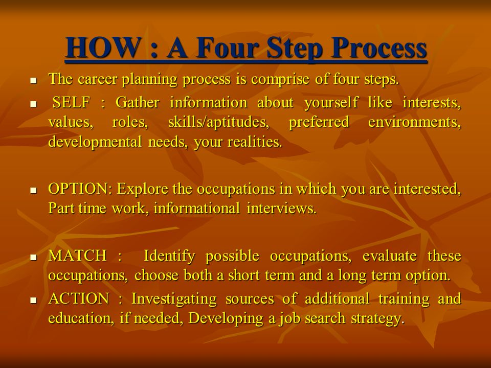 HOW : A Four Step Process The career planning process is comprise of four steps.