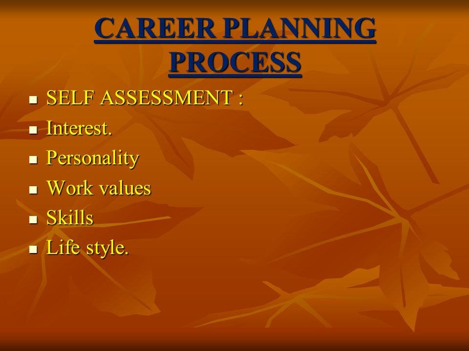 CAREER PLANNING PROCESS SELF ASSESSMENT : SELF ASSESSMENT : Interest.