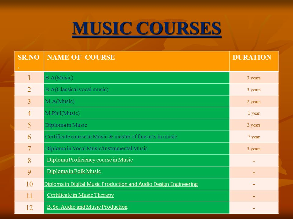 MUSIC COURSES SR.NO.
