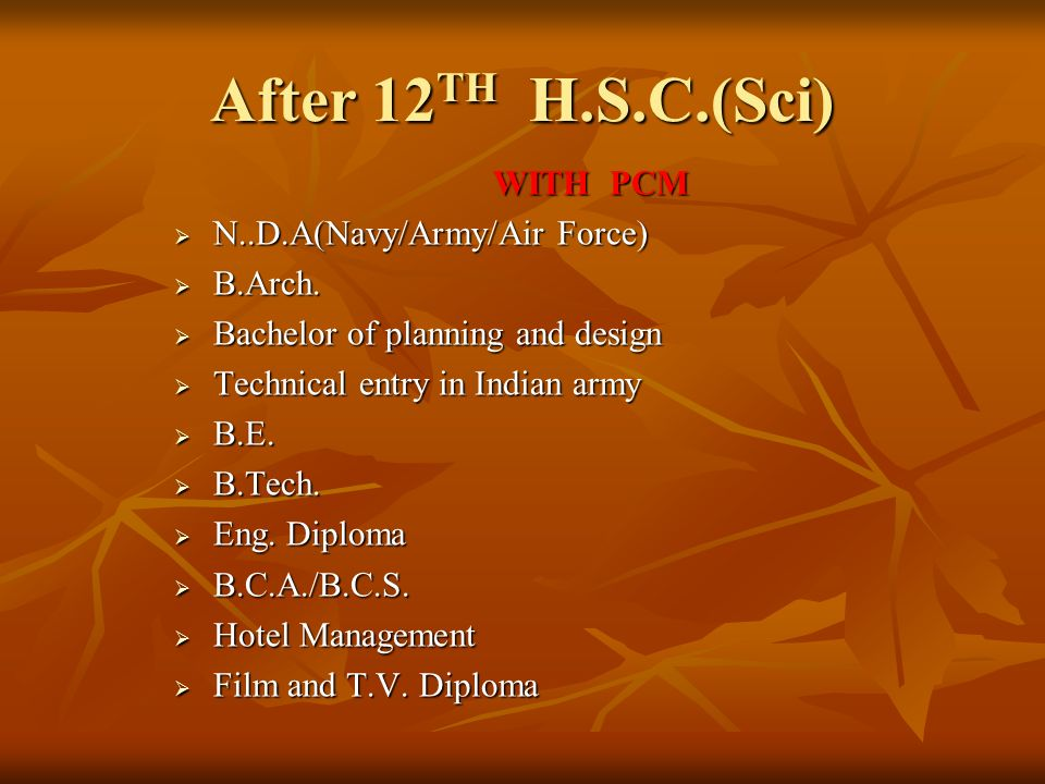 After 12 TH H.S.C.(Sci) WITH PCM  N..D.A(Navy/Army/Air Force)  B.Arch.