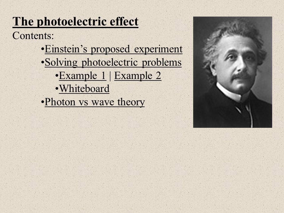 chemistry u2 einstein photoelectric effect essay Time-saving video on the photoelectric effect the photoelectric effect was explained by albert einstein in 1905 and states that when chemistry the atom.