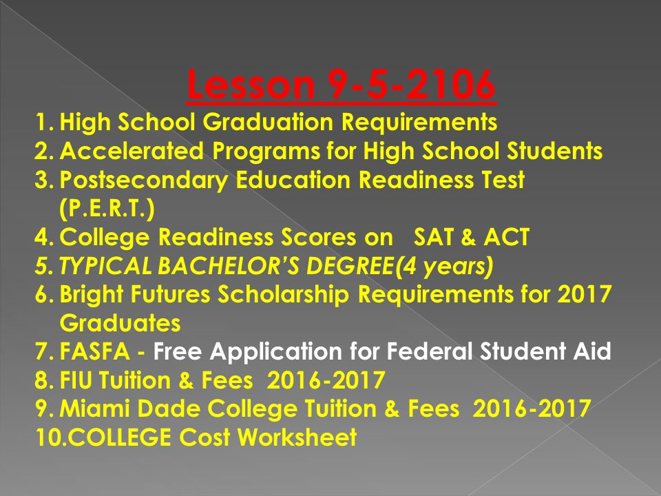 Lesson High School Graduation Requirements 2celerated Programs