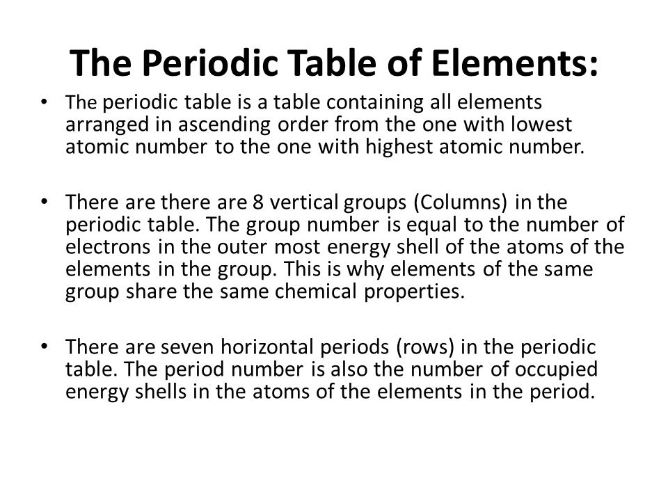 The periodic table learning outcomes describe the arrangement of learning outcomes describe the arrangement of the elements in the periodic table urtaz Gallery