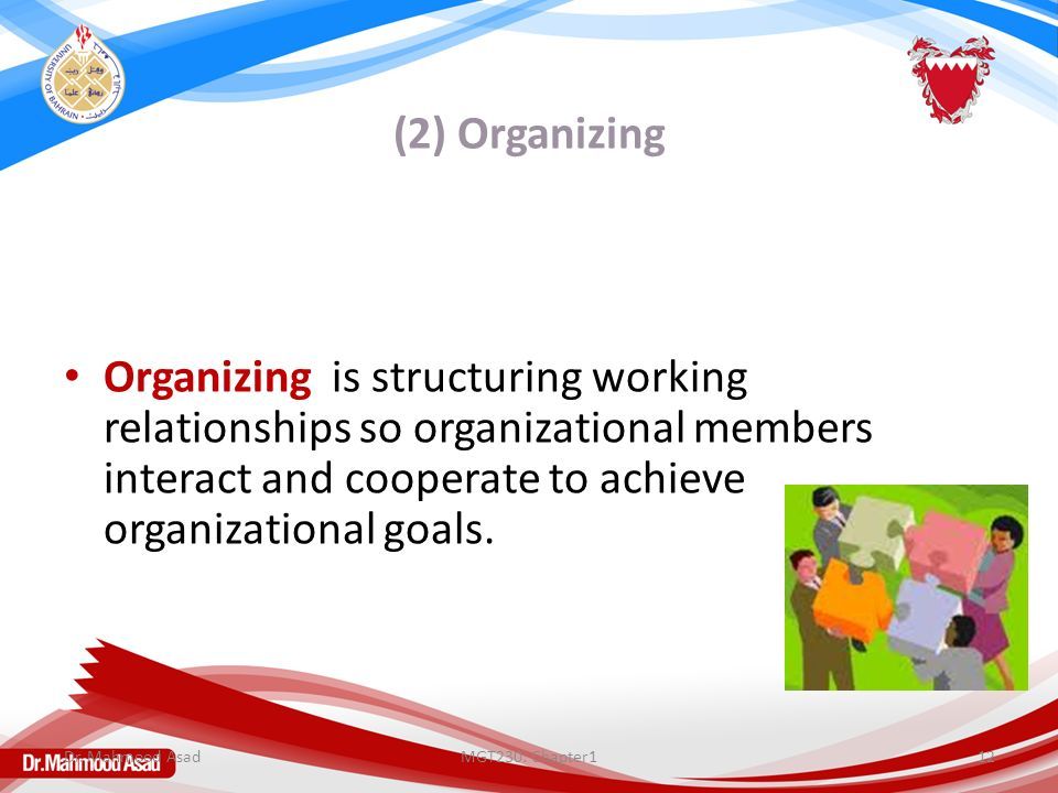(2) Organizing Organizing is structuring working relationships so organizational members interact and cooperate to achieve organizational goals.