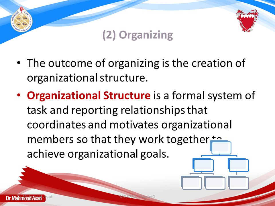 (2) Organizing The outcome of organizing is the creation of organizational structure.