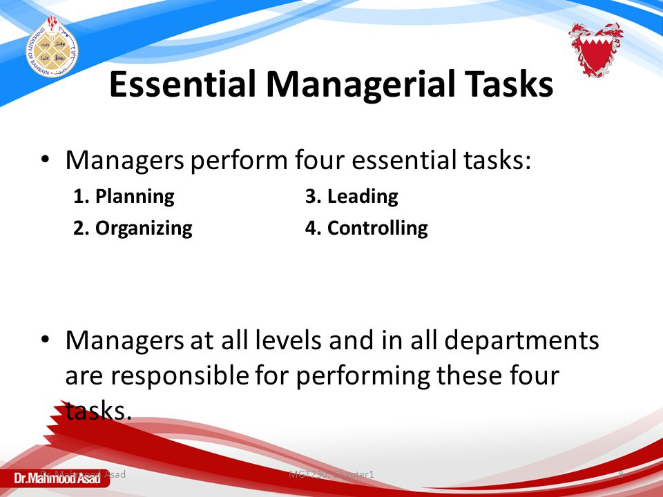 Essential Managerial Tasks Managers perform four essential tasks: 1. Planning3. Leading 2. Organizing4. Controlling Managers at all levels and in all