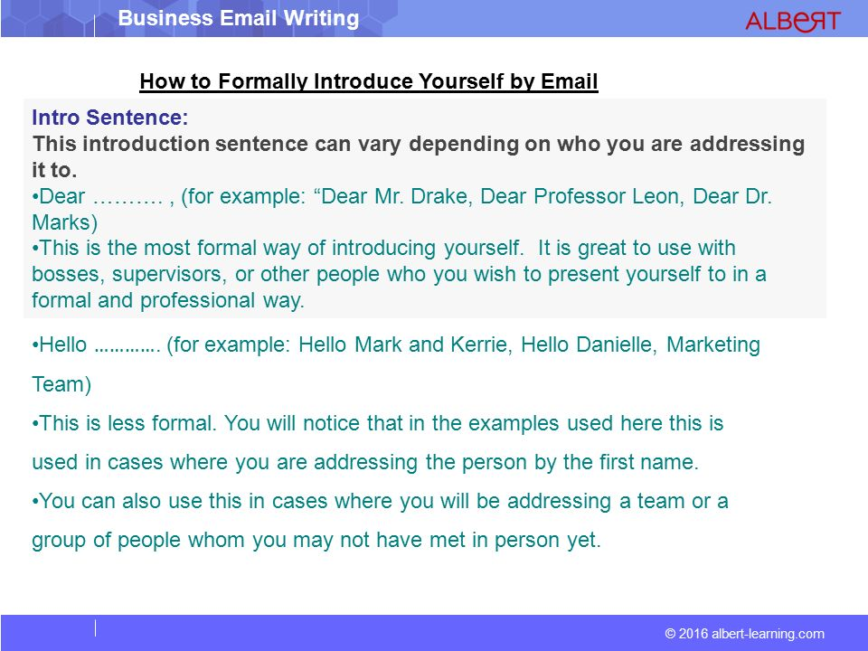 email introduction example
