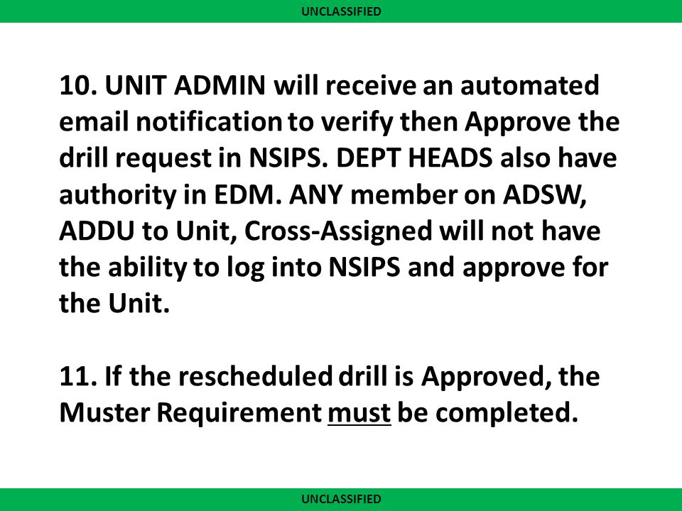 Unclassified Edm Guide For Requesting Drill Reschedule Muster