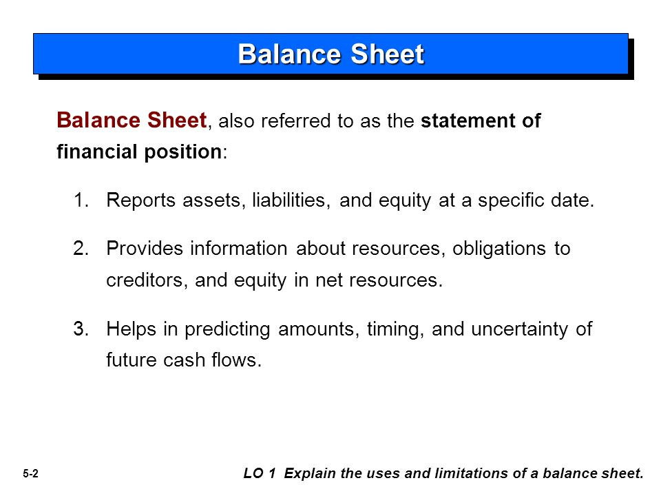 5-1 Intermediate Accounting 5 Balance Sheet And Statement Of Cash