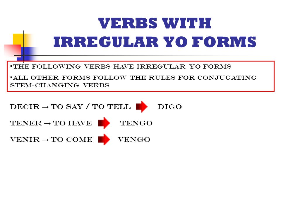 VERBS WITH IRREGULAR YO FORMS.  The following verbs have ...