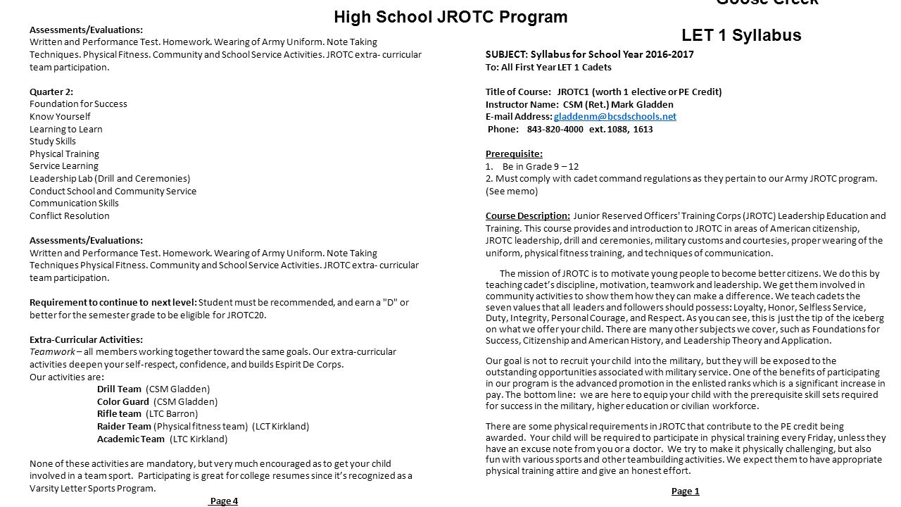 rotc implementation an assessment