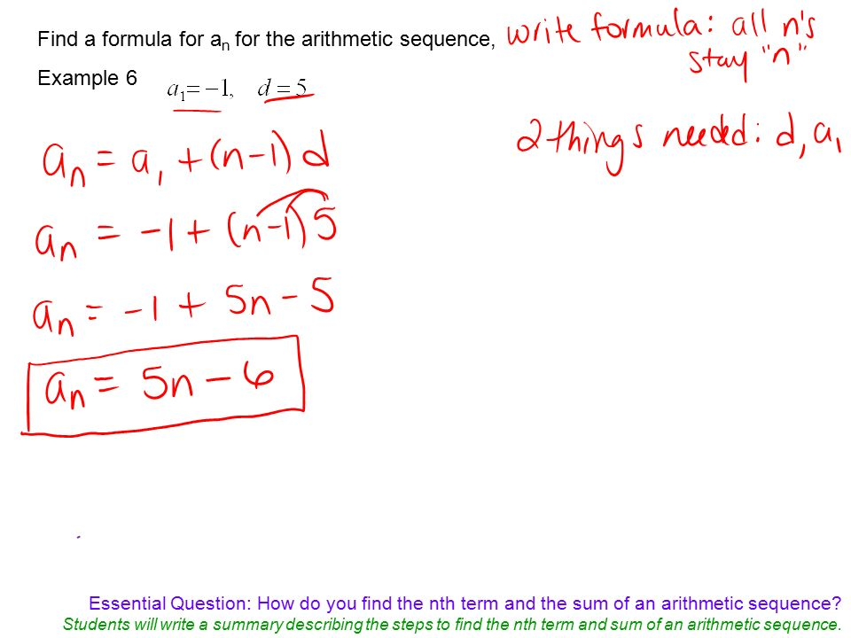 Essential Question: How Do You Find The Nth Term And The Sum Of An