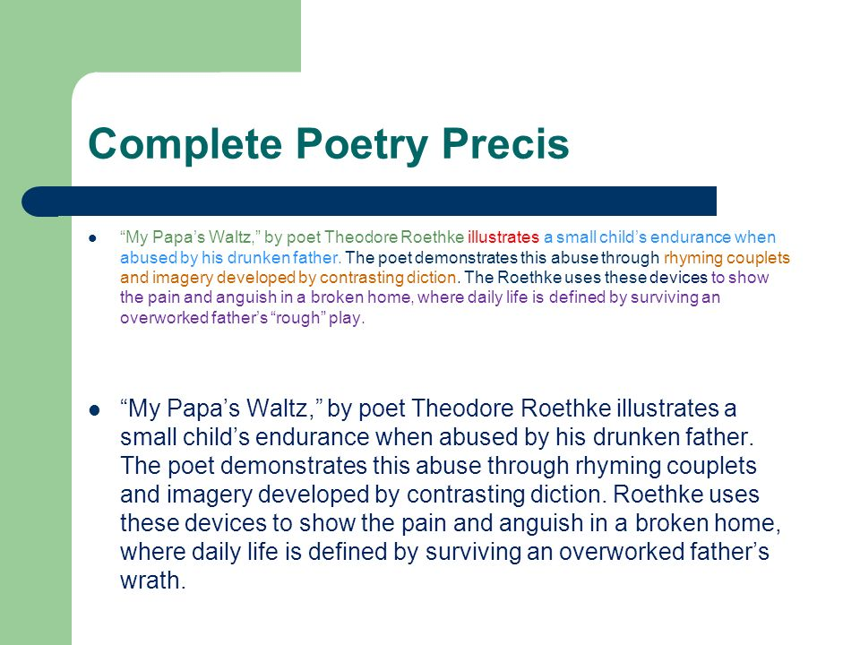 an analysis of identity crisis in we real cool by gwendolyn brooks and my papas waltz by theodore ro Adolescence and the common identity crisis word count: 1251 approx pages these three have the greatest impact on a teen's identity because it is something they.