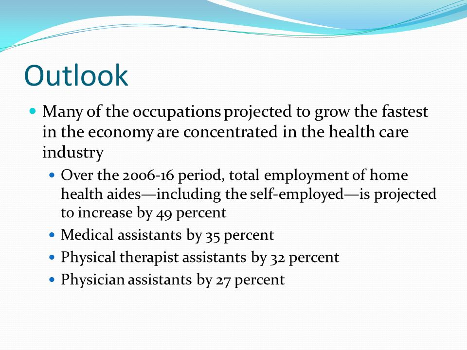 Outlook Many of the occupations projected to grow the fastest in the economy are concentrated in the health care industry Over the period, total employment of home health aides—including the self-employed—is projected to increase by 49 percent Medical assistants by 35 percent Physical therapist assistants by 32 percent Physician assistants by 27 percent