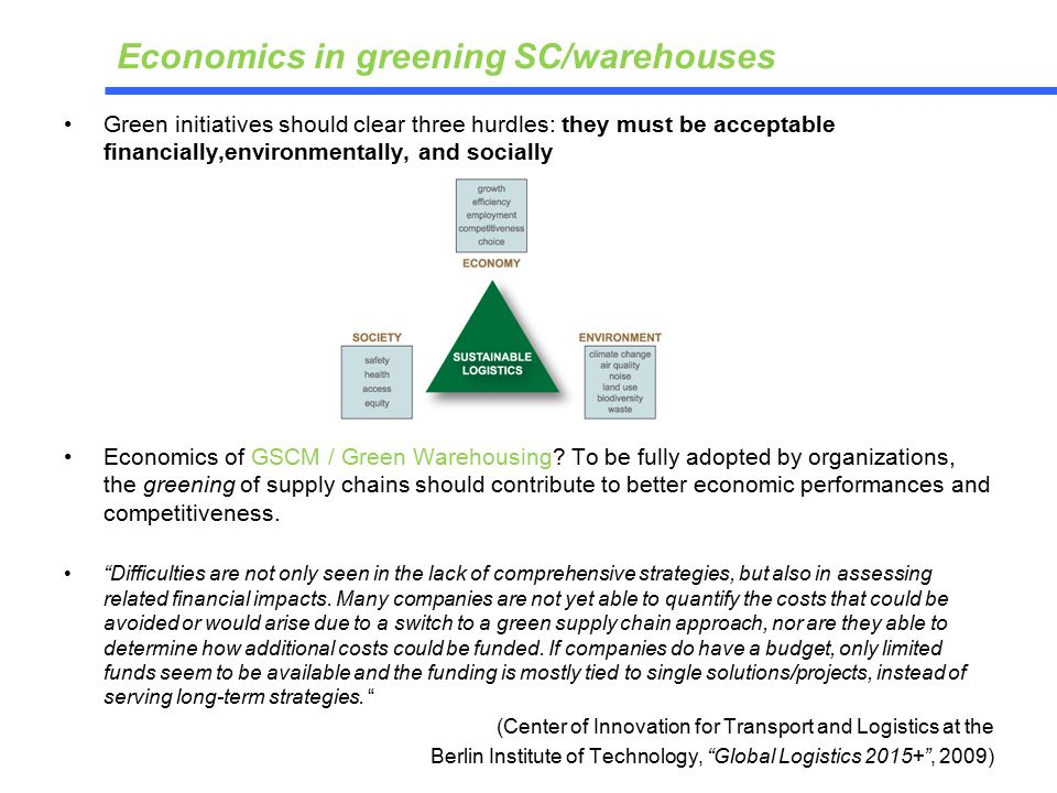 Economics in greening SC/warehouses Green initiatives should clear three hurdles: they must be acceptable financially,environmentally, and socially Economics of GSCM / Green Warehousing.