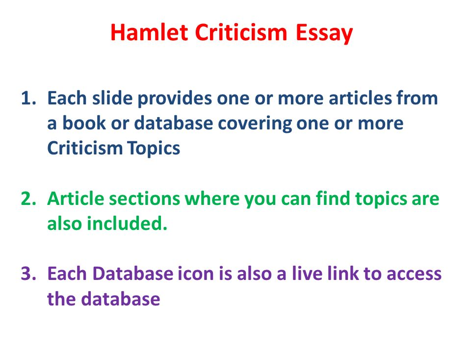 Critical Essay Topics