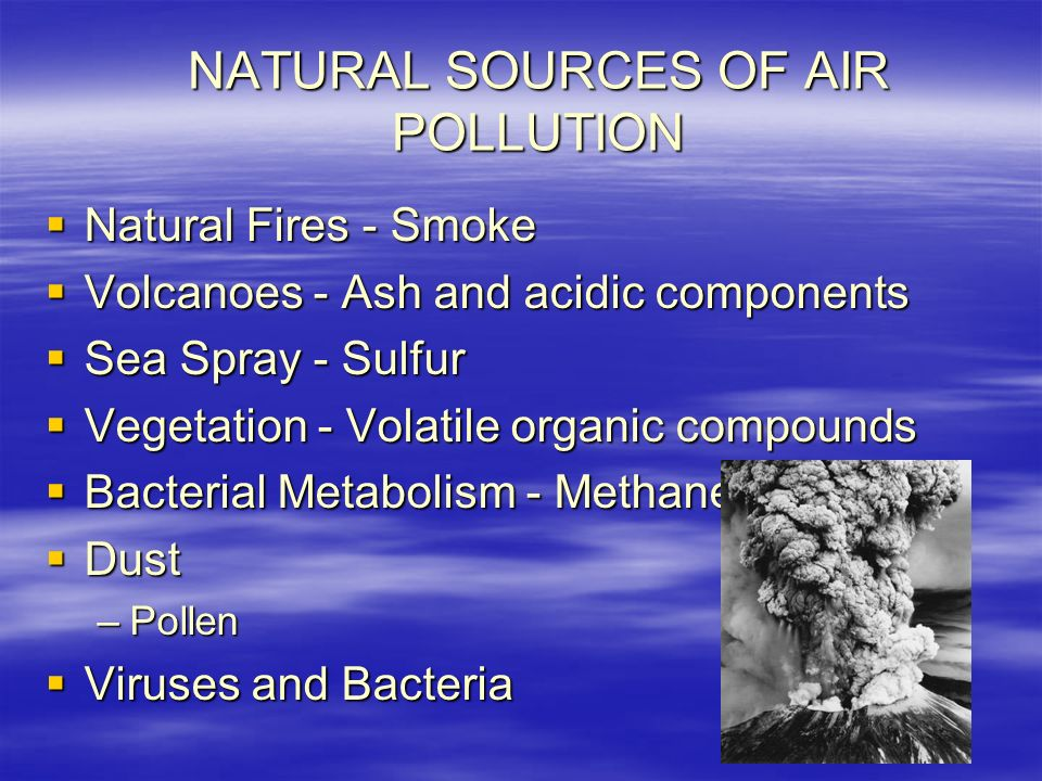 NATURAL SOURCES OF AIR POLLUTION  Natural Fires - Smoke  Volcanoes - Ash and acidic components  Sea Spray - Sulfur  Vegetation - Volatile organic compounds  Bacterial Metabolism - Methane  Dust –Pollen  Viruses and Bacteria