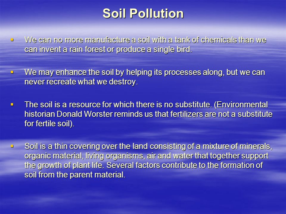 Soil Pollution  We can no more manufacture a soil with a tank of chemicals than we can invent a rain forest or produce a single bird.