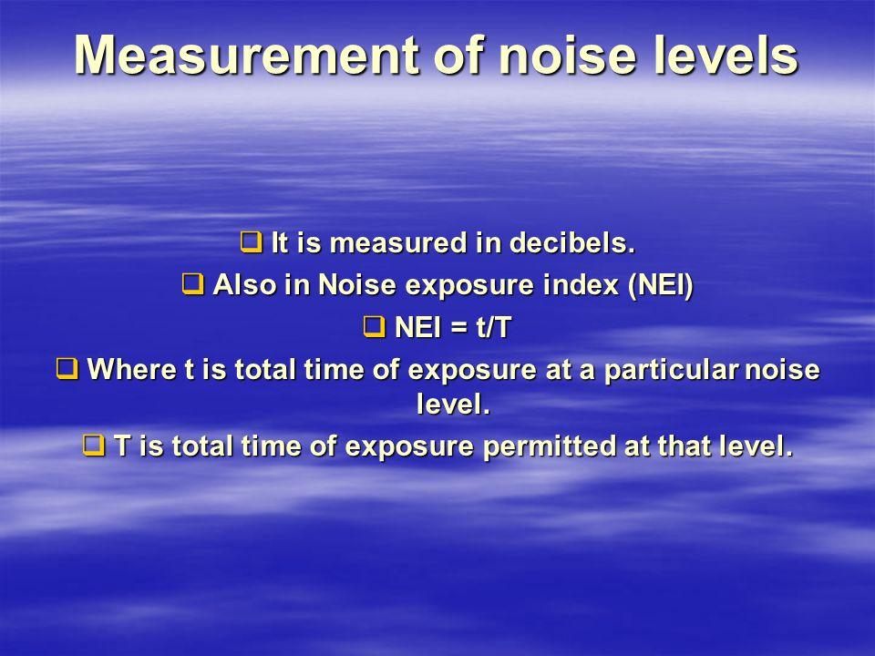 Measurement of noise levels  It is measured in decibels.