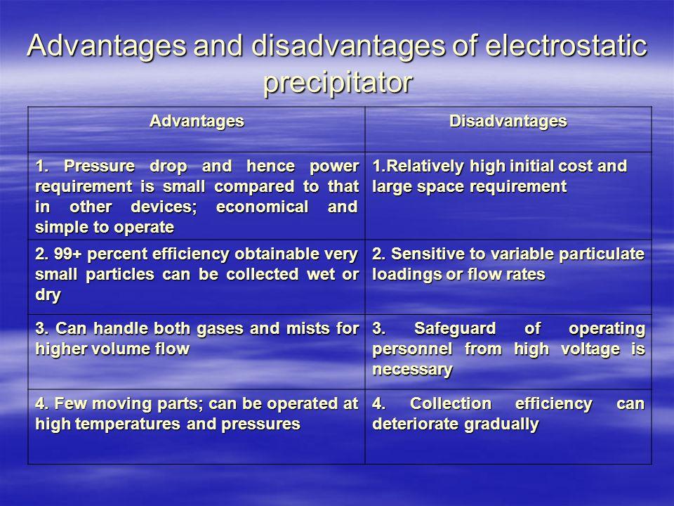 Advantages and disadvantages of electrostatic precipitator AdvantagesDisadvantages 1.
