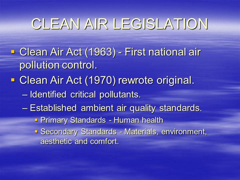CLEAN AIR LEGISLATION  Clean Air Act (1963) - First national air pollution control.